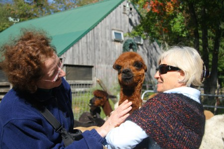 Laurie and Sharon with baby brown alpaca