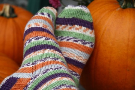 trekking feet with pumpkins