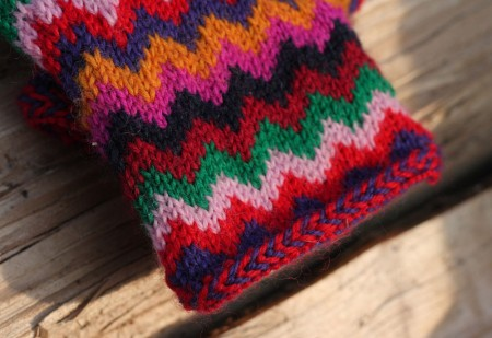 Chevron Love Mittens Close Up Braid