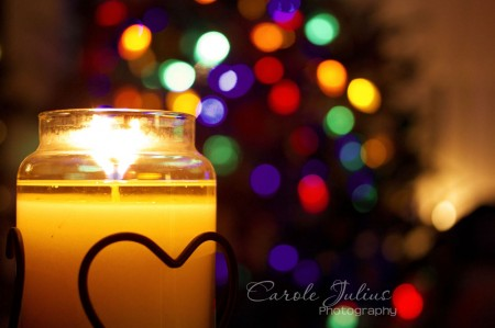 Candle with Tree Lights for Carole Knits