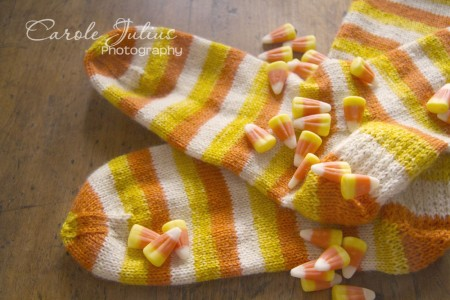 candy corn sock feet for carole knits