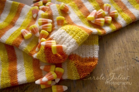 candy corn sock heels for carole knits