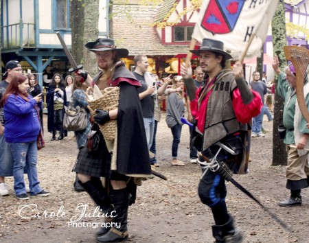 swordfighters in parade for carole knits