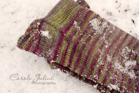 november sock with snow for carole knits