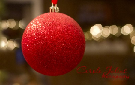 red ornament bokeh lights