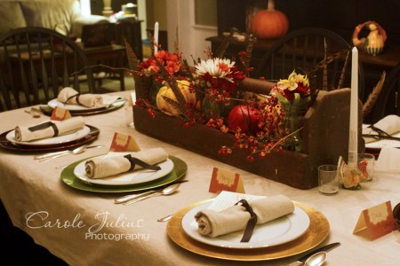 thanksgiving dinner table for carole knits
