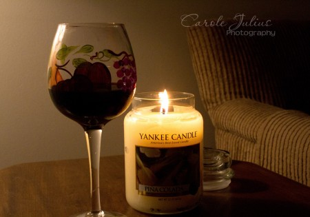 wine and candle for carole knits