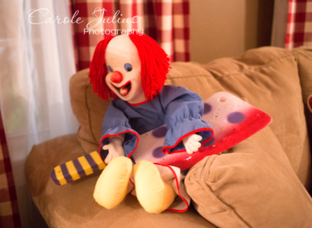 clown doll with cleaver