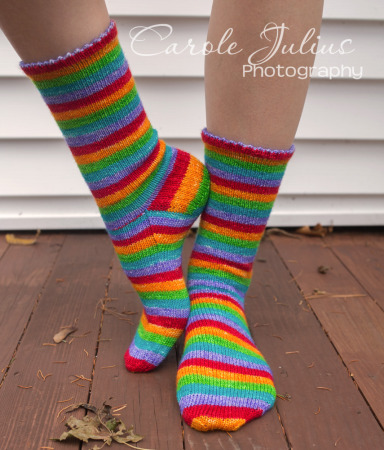rainbow socks 1 for carole knits