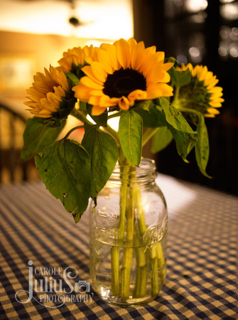 sunflowers in mason jar for carole knits