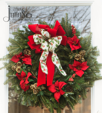front door wreath 2015 for carole knits