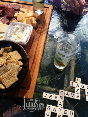 bananagrams and snacks for carole knits