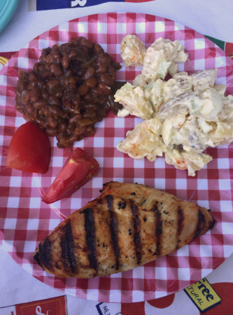 chicken beans and potato salad for carole knits